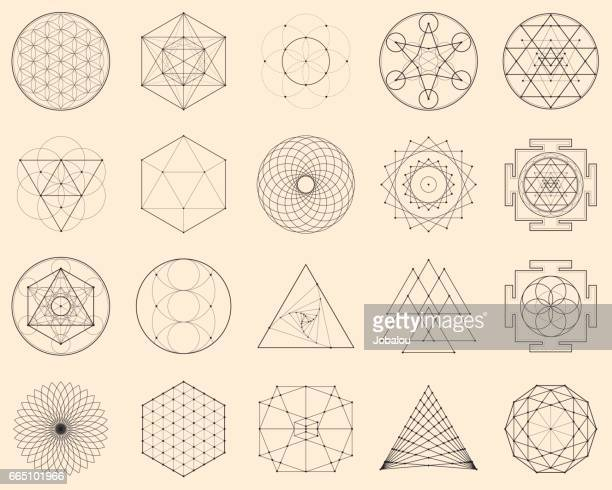 esoteric spiritual geometry - triangle shape stock illustrations