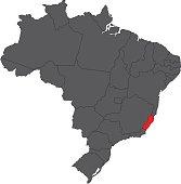 Espirito Santo red on gray Brazil map vector