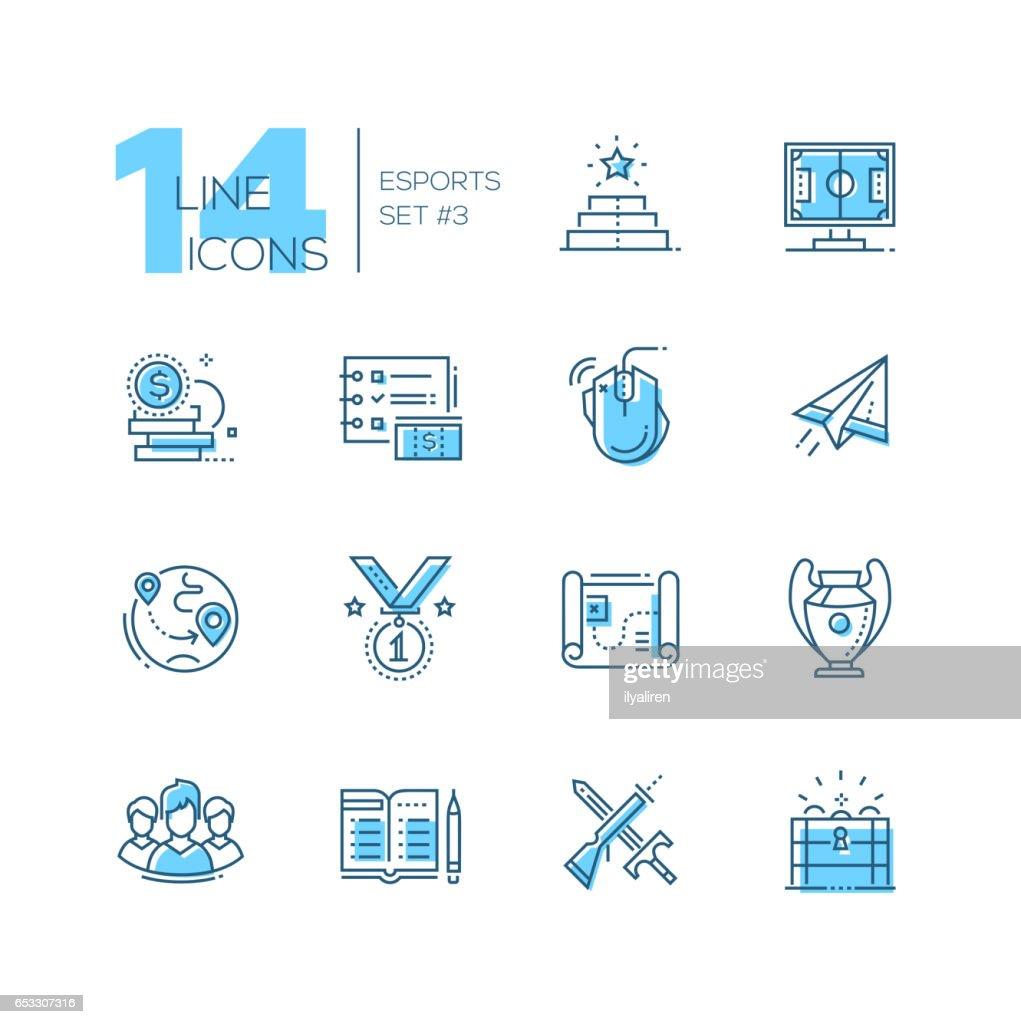 Esports - coloured modern single line icons set