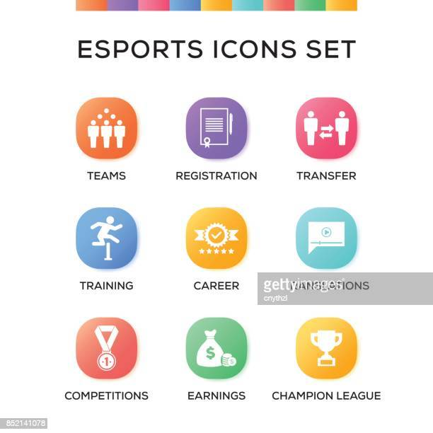 ilustrações de stock, clip art, desenhos animados e ícones de esports icons set on gradient background - match sport