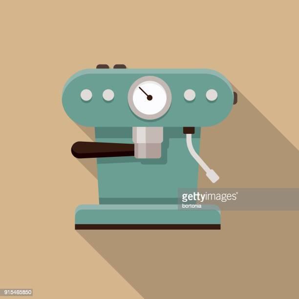 stockillustraties, clipart, cartoons en iconen met espresso machine plat ontwerp koffie & thee pictogram - machinerie