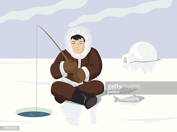 illustrations, cliparts, dessins animés et icônes de esquimo pêcheur - igloo