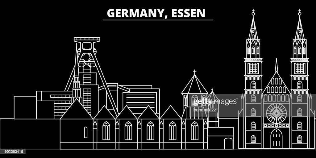 Essen silhouette skyline. Germany - Essen vector city, german linear architecture, buildings. Essen travel illustration, outline landmarks. Germany flat icon, german line banner