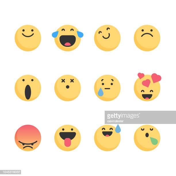 ilustrações, clipart, desenhos animados e ícones de design de cores planas de emoticons essencial - expressão facial