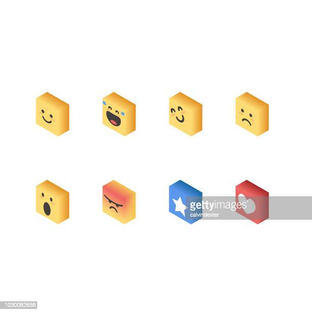 Essential emoticons isometric perspective