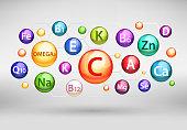Essential vitamin and mineral complex, vector realistic illustration