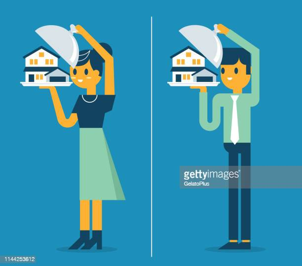 estate broker agent presenting house for sale - borrowing stock illustrations