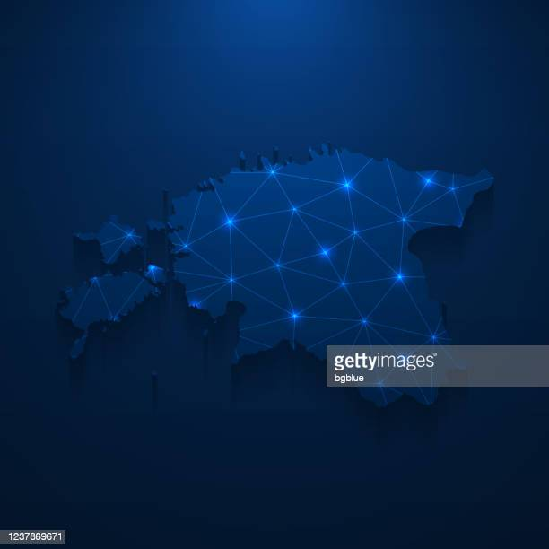 estonia map network - bright mesh on dark blue background - estonia stock illustrations