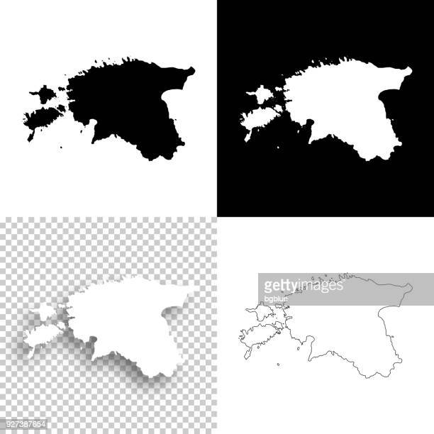 estonia maps for design - blank, white and black backgrounds - estonia stock illustrations