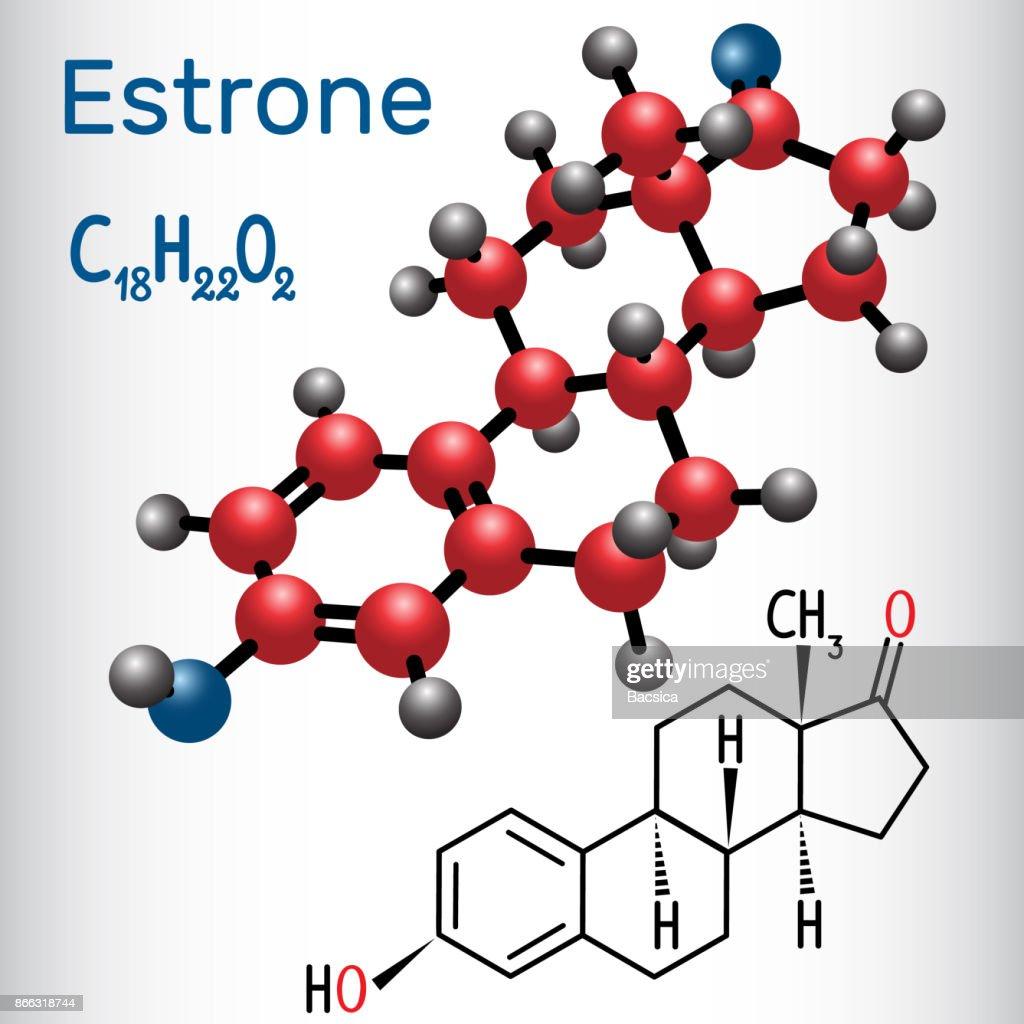 Estrone E1 (estrogen, minor female sex hormone ) - structural chemical formula and molecule model.