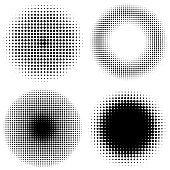 et of vintage halftone dots vector background. Abstract dotted stippling texture.