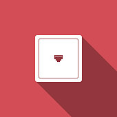 Ethernet socket sign. Network port - cable socket icon isolated with long shadow. LAN port icon. Local area connector icon. Flat design. Vector Illustration