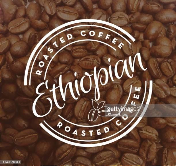 ilustrações, clipart, desenhos animados e ícones de etiquetas redondas do café de etiópia no fundo textured feijão de café - ethiopia