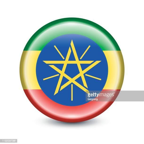 ilustrações, clipart, desenhos animados e ícones de ícone redondo da bandeira de etiópia. ilustração do vetor - ethiopia