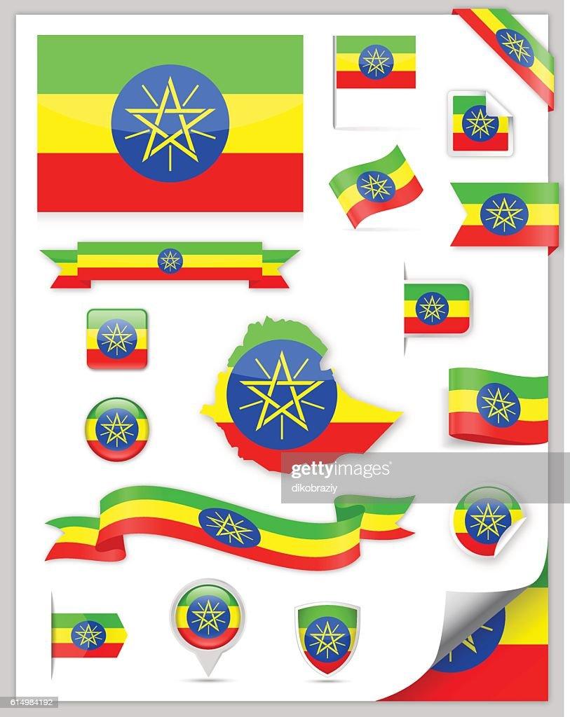 Ethiopia Flag Set - Vector Collection