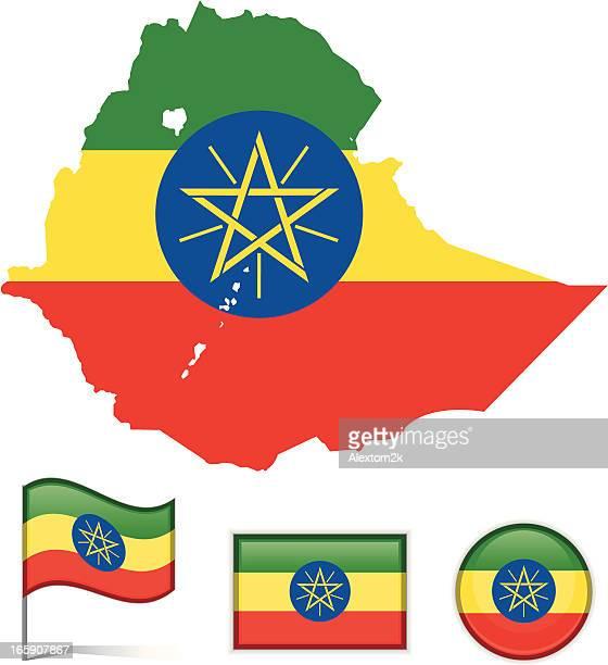 ethiopia map & flag - ethiopia stock illustrations, clip art, cartoons, & icons