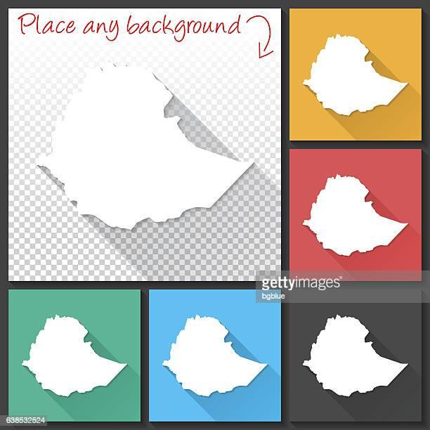 ethiopia map for design, long shadow, flat design - ethiopia stock illustrations, clip art, cartoons, & icons