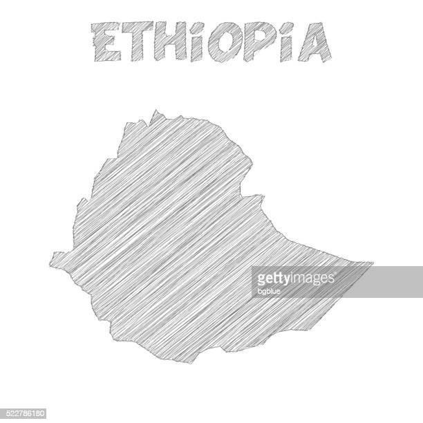 ethiopia map hand drawn on white background - ethiopia stock illustrations, clip art, cartoons, & icons