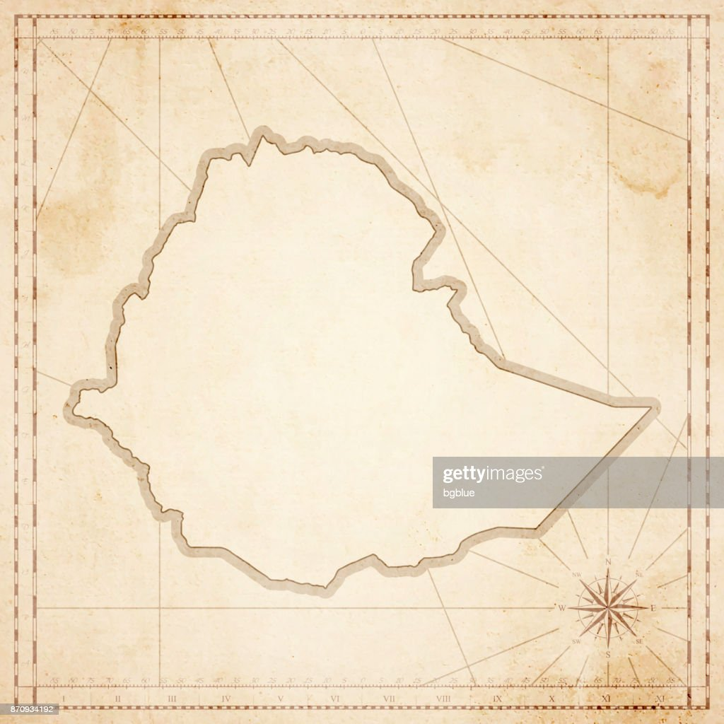 Ethiopia map in retro vintage style - old textured paper