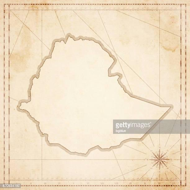 ilustrações, clipart, desenhos animados e ícones de mapa de etiópia em estilo vintage retrô - velho papel texturizado - ethiopia