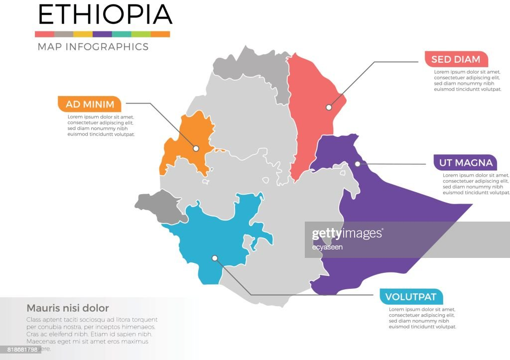 Ethiopia map infographics vector template with regions and pointer marks
