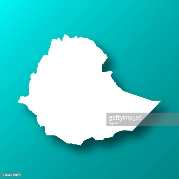 ilustrações, clipart, desenhos animados e ícones de mapa de etiópia no fundo verde azul com sombra - ethiopia