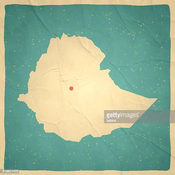 ilustrações, clipart, desenhos animados e ícones de etiópia mapa na textura de papel vintage velho - ethiopia