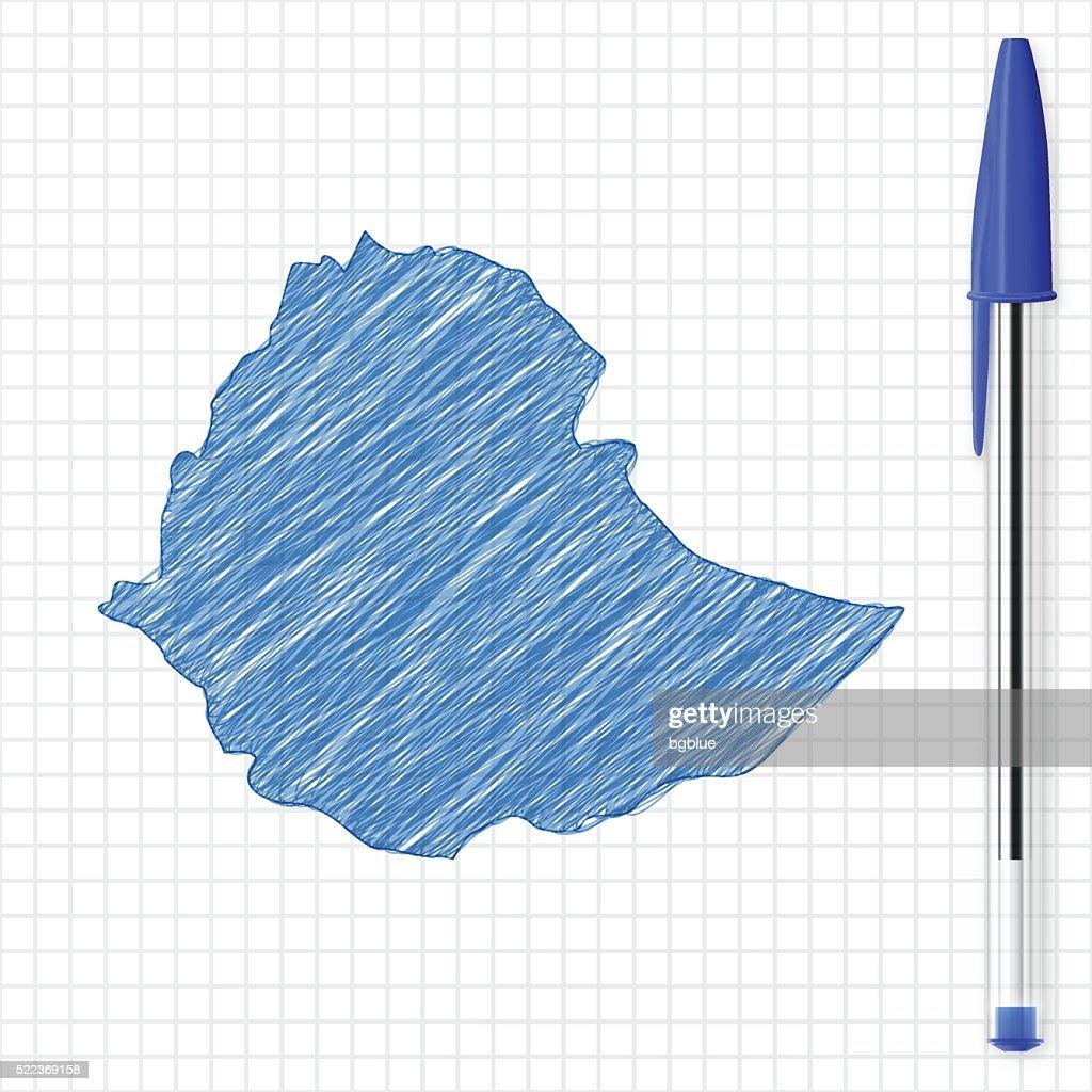 Ethiopia map sketch on grid paper, blue pen