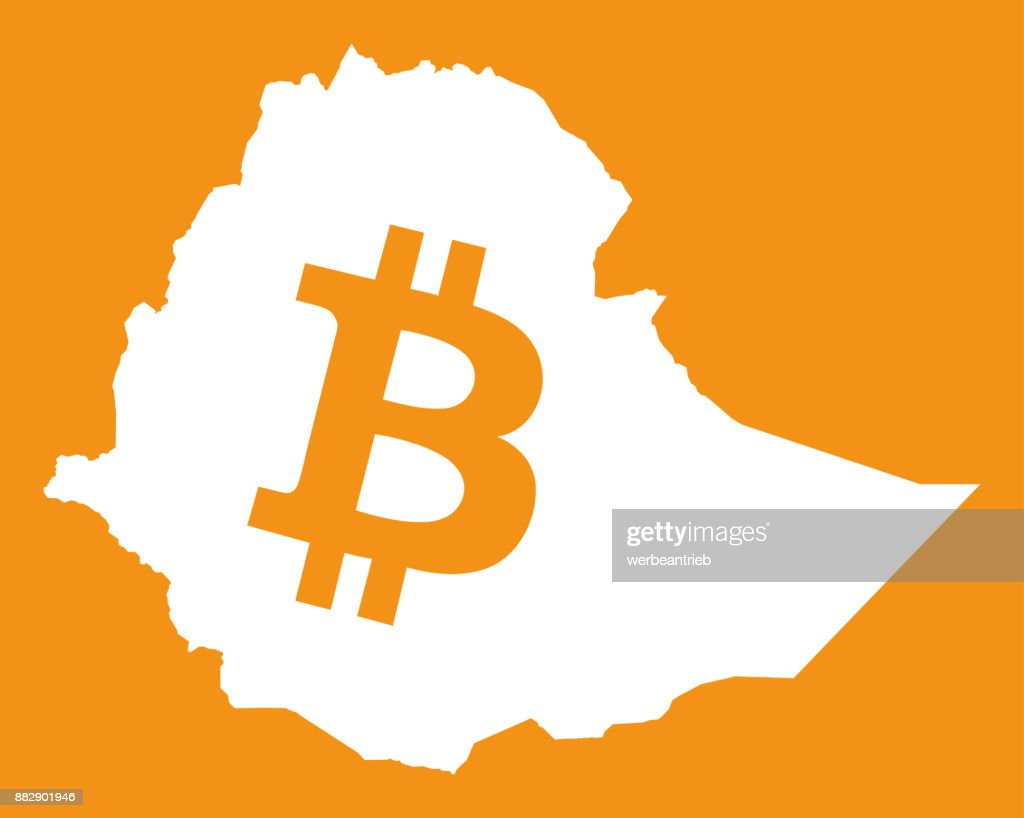 Ethiopia Map With Bitcoin Crypto Currency Symbol Illustration Vector