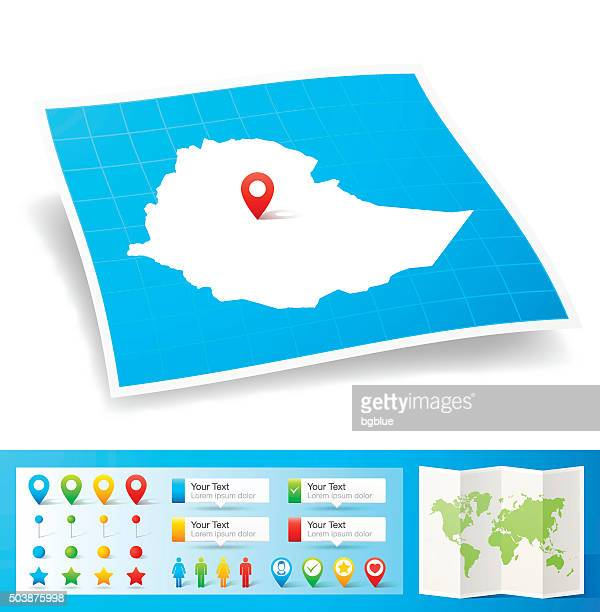 ethiopia map with location pins isolated on white background - ethiopia stock illustrations, clip art, cartoons, & icons