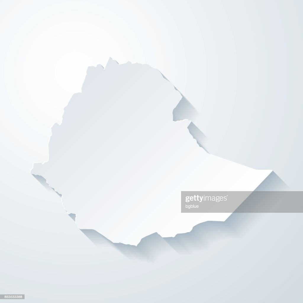 Ethiopia map with paper cut effect on blank background