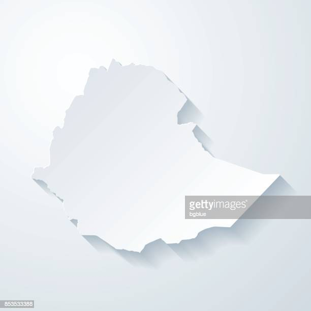 ethiopia map with paper cut effect on blank background - ethiopia stock illustrations, clip art, cartoons, & icons