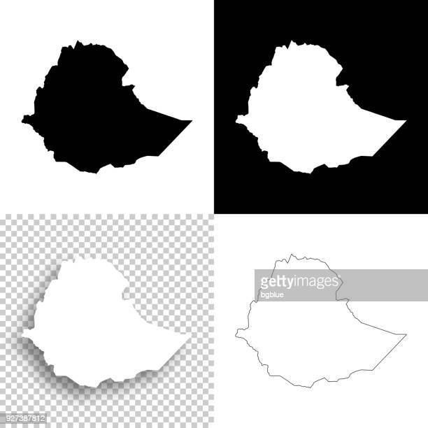 ethiopia maps for design - blank, white and black backgrounds - ethiopia stock illustrations, clip art, cartoons, & icons