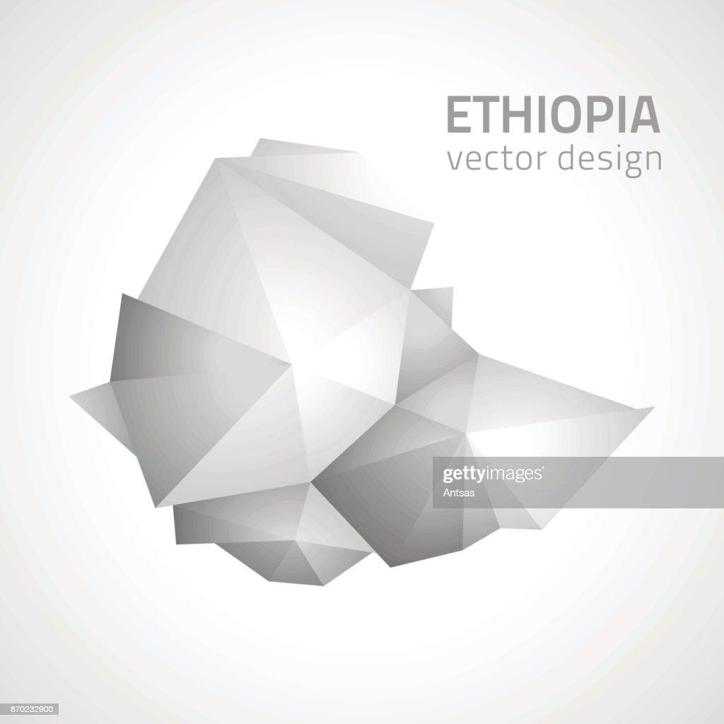 Ethiopia polygonal grey vector map