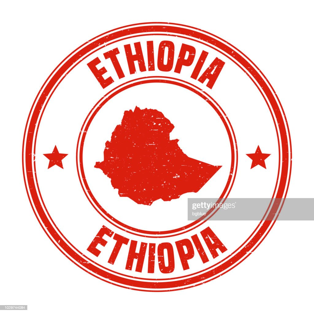 Ethiopia - Red grunge rubber stamp with name and map