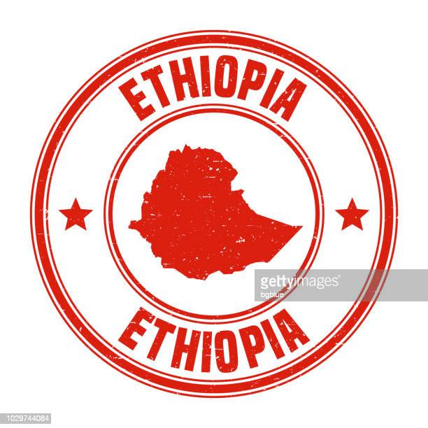ethiopia - red grunge rubber stamp with name and map - ethiopia stock illustrations, clip art, cartoons, & icons