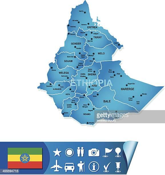 ethiopia vector map - ethiopia stock illustrations, clip art, cartoons, & icons