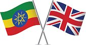 Ethiopian and British flags. Vector.