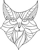 Ethnic animal. Tribal patterned Wild cat. Cat head. Caracal. Lynx. Hand drawn illustration in doodle style - Vector illustration