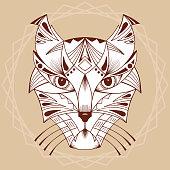 Ethnic animal. Tribal patterned Wild cat. Cat head. Caracal. Lynx.