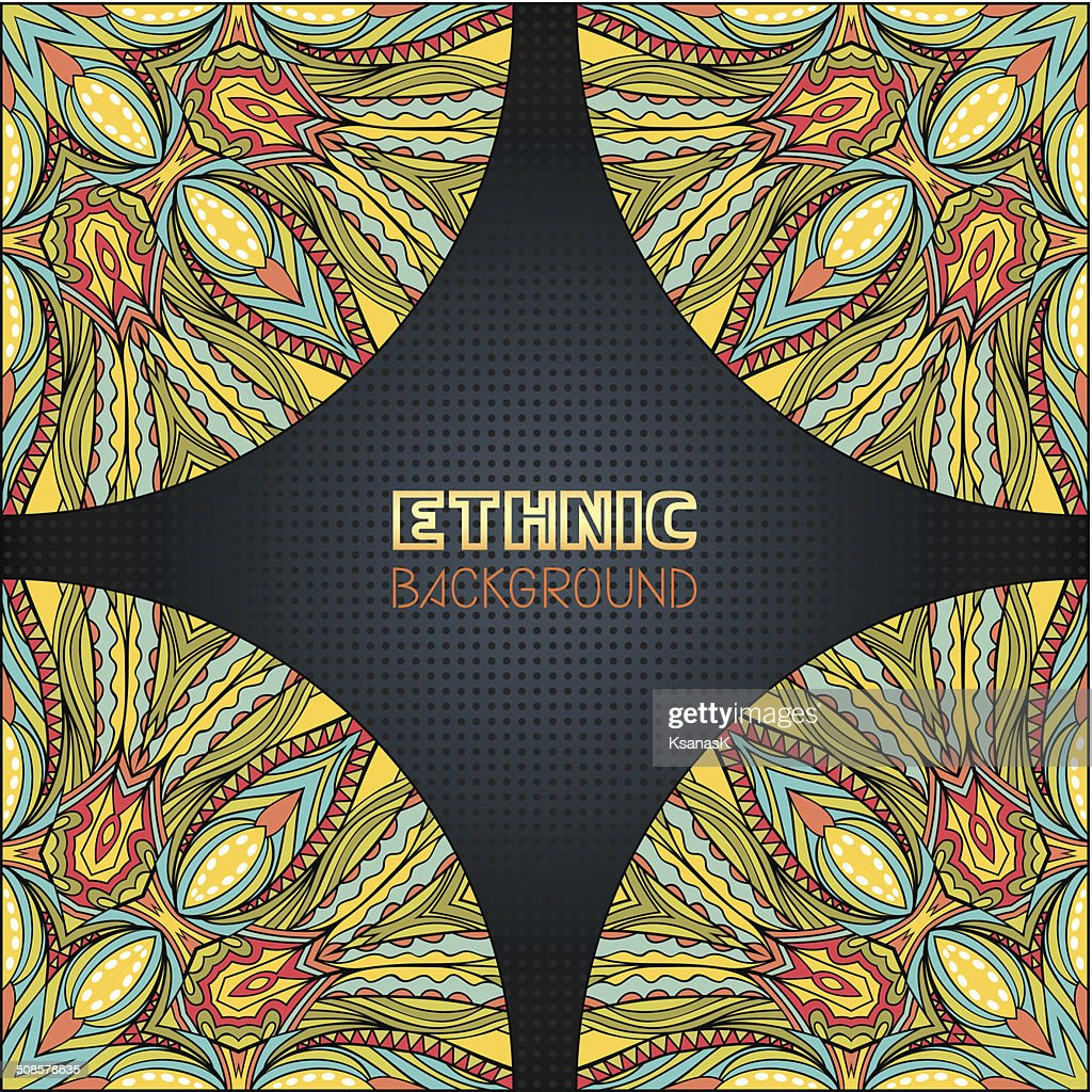 Ethnic Background With Corner Elements : Vector Art