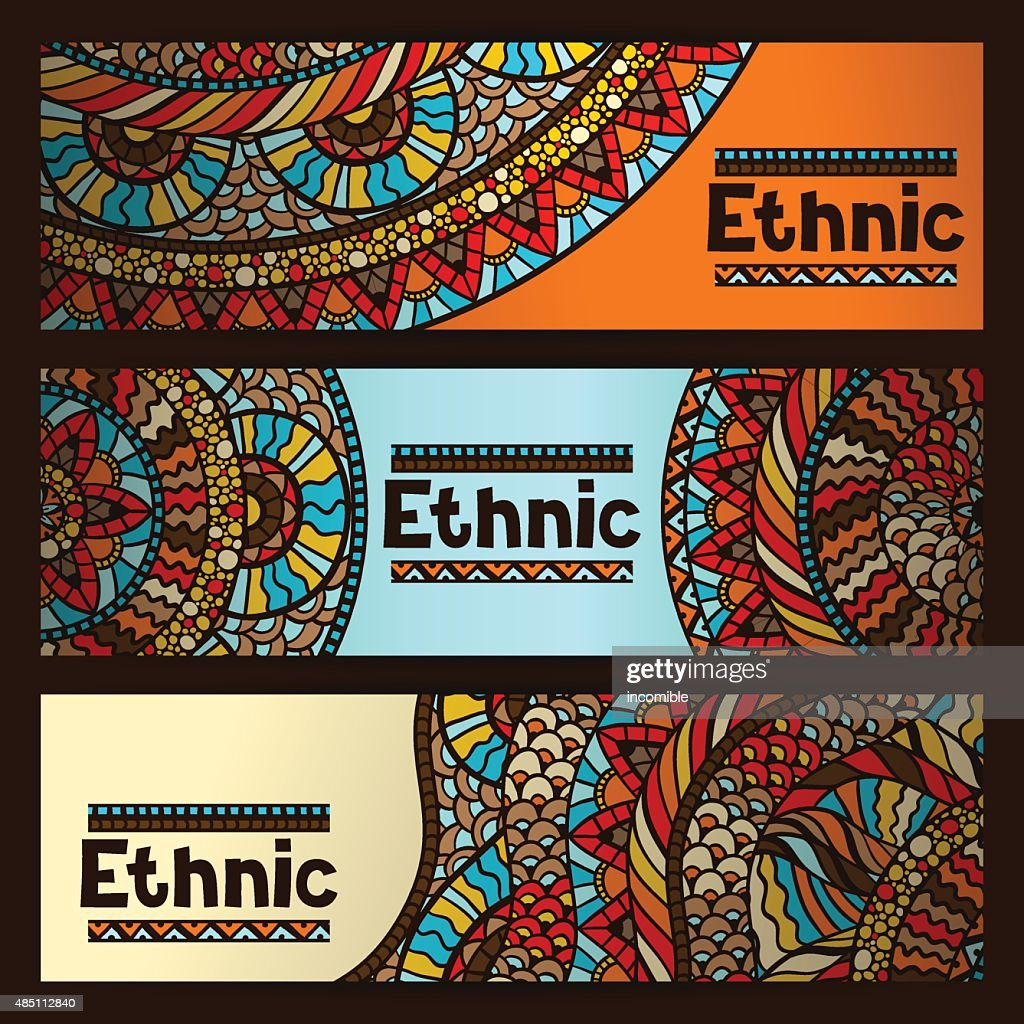 Ethnic banners design with hand drawn ornament