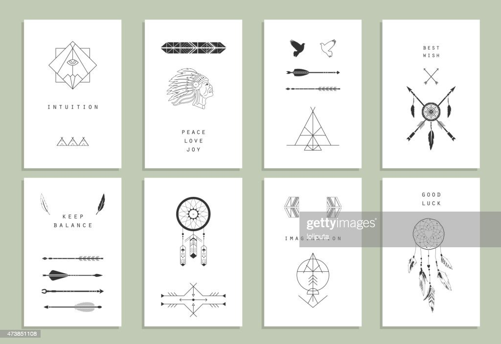 Ethnic cards. Arrows, Indian elements, Aztec borders and embellishments.