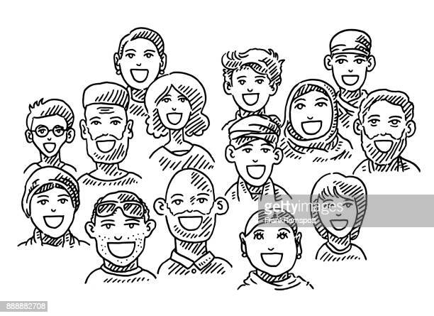 ethnic diversity group of people drawing - variation stock illustrations