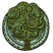 Ethnic doodle floral retro colored tree round pattern