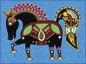ethnic folk animals in Ukrainian traditional karakoko style - fa