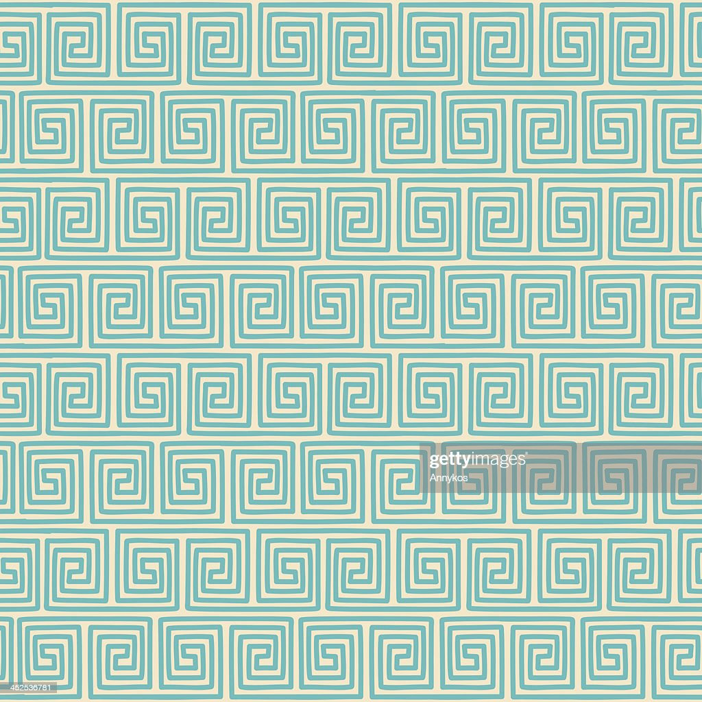 Ethnic geometric seamless pattern on green color