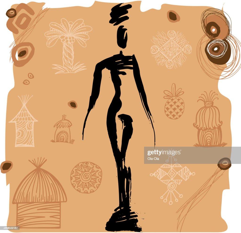 Ethnic girl silhouette