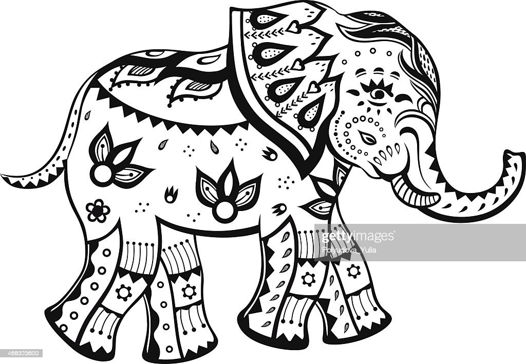 Ethnic ornamented baby elephant