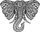 Ethnic ornamented elephant. Vector illustration